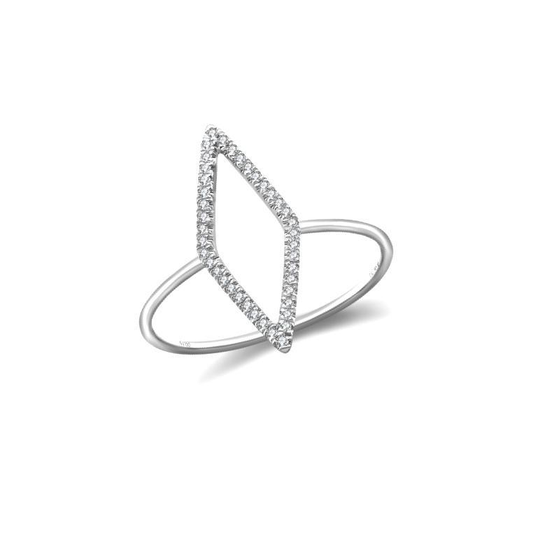 Anel Losango Ouro Branco 18k e Diamantes