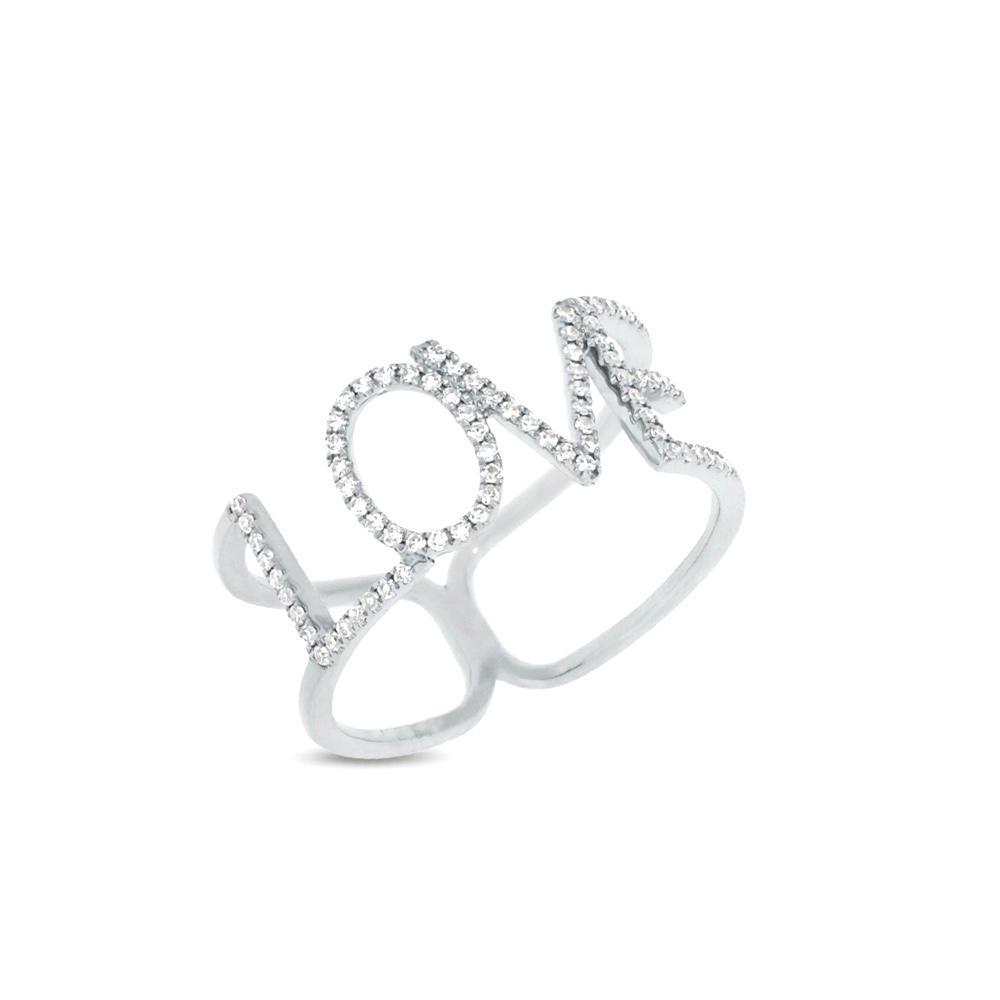 Anel Love Ouro branco 18k com Diamantes