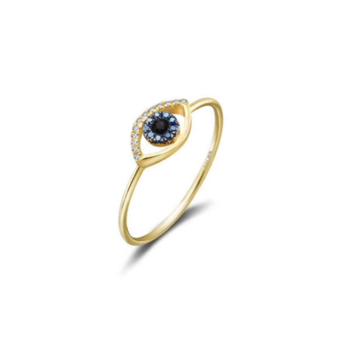 Anel Olho Grego Ouro 18k, Safiras e Diamantes