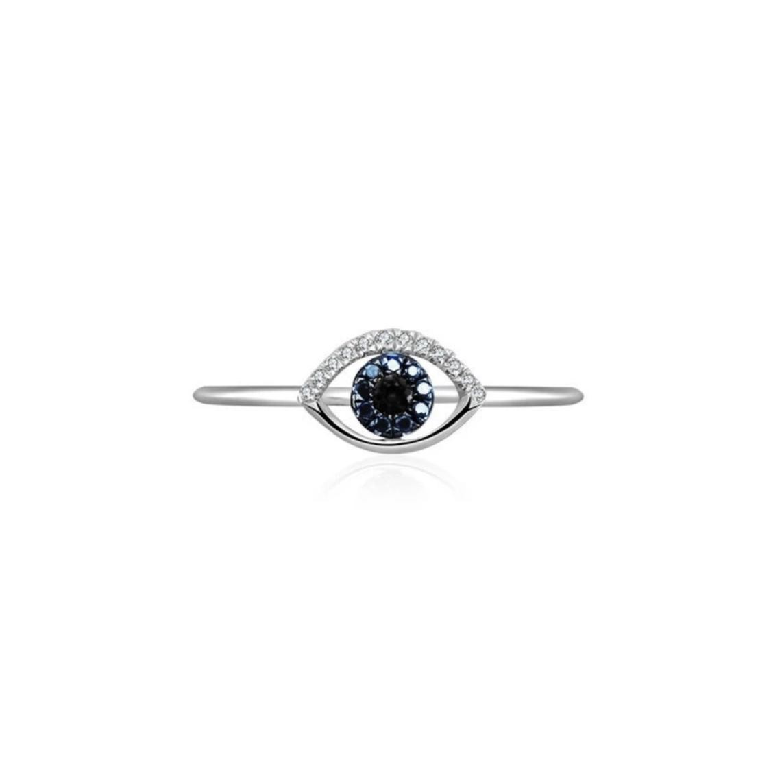 Anel Olho Grego Ouro Branco 18k, Safiras e Diamantes