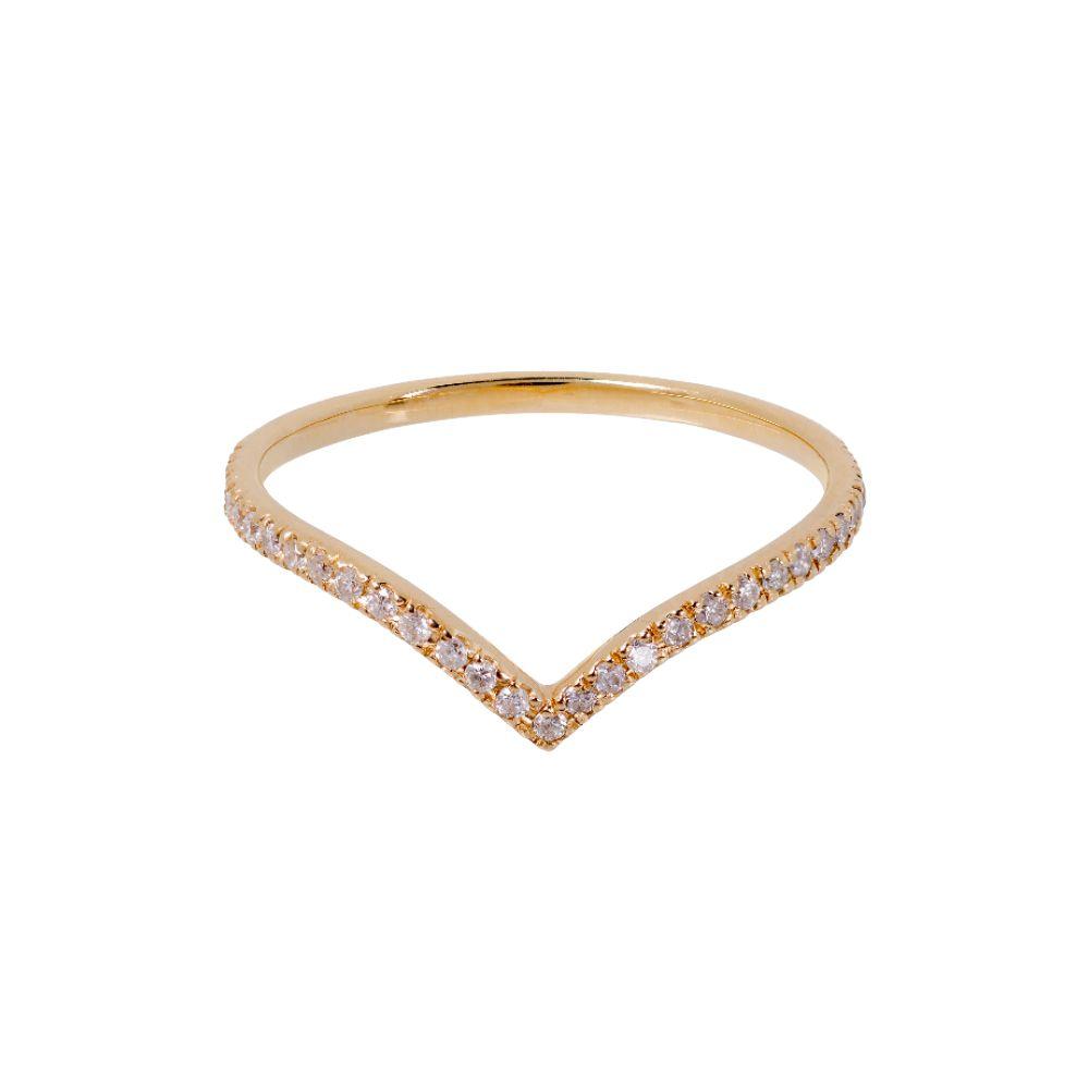 Anel Minimal Ouro Amarelo 18k e Diamantes