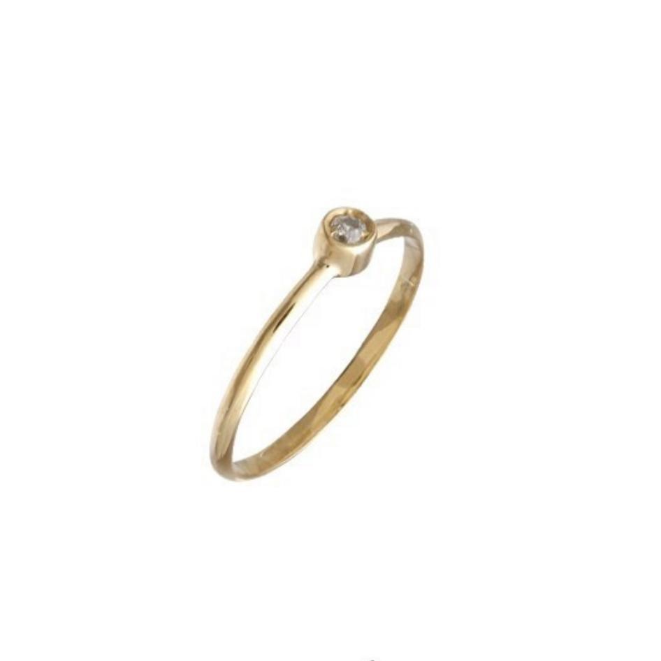 Anel Solitário Ouro 18k com Diamante
