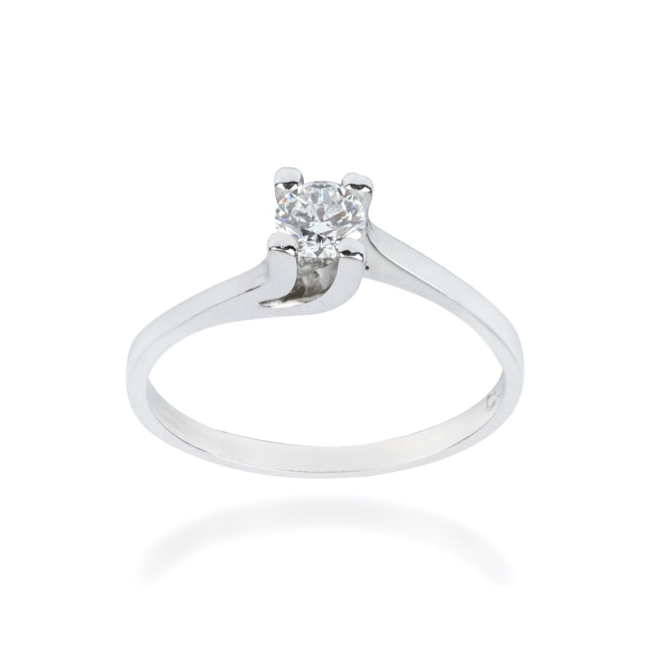 Anel Solitário Twist em Ouro branco 18k com Diamante de 25 pontos