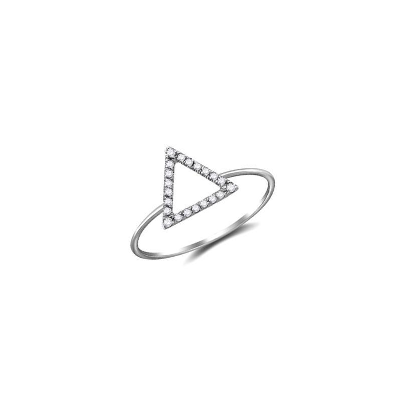 Anel Triângulo Ouro branco 18k com Diamantes