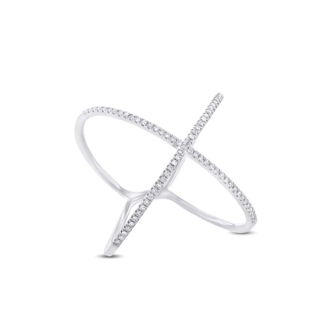 Anel X Ouro branco 18k com Diamantes
