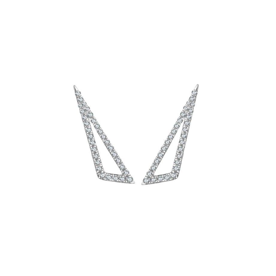 Brincos Ângulos Ouro branco 18k com Diamantes