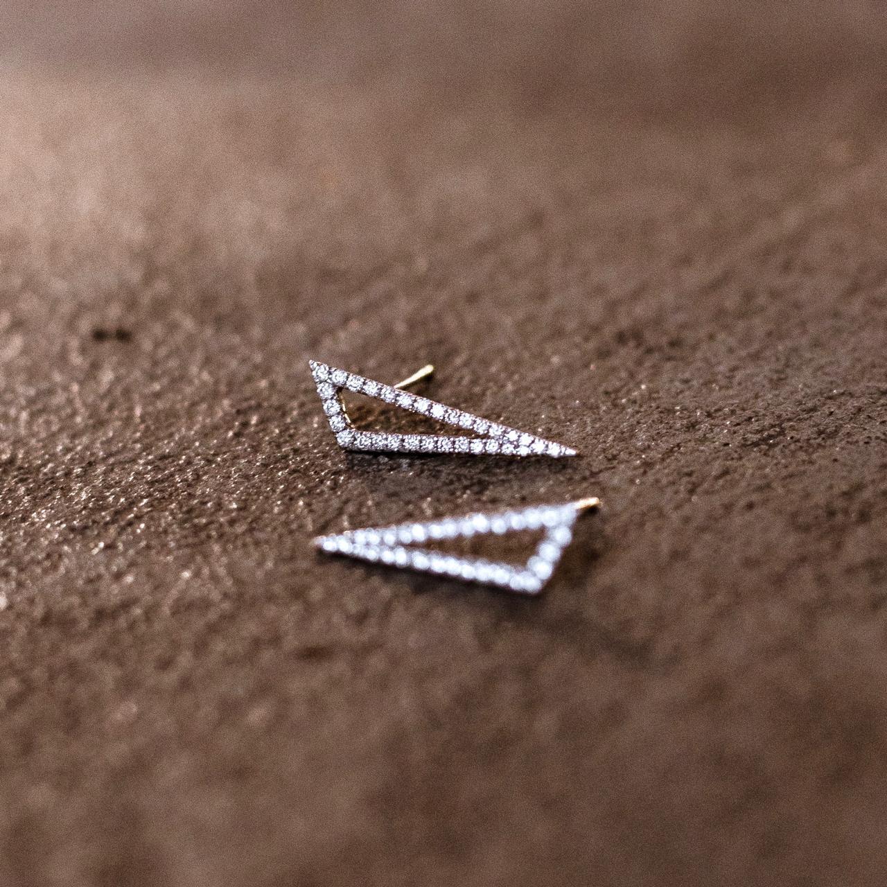 Brincos Ângulos Ouro 18k com Diamantes