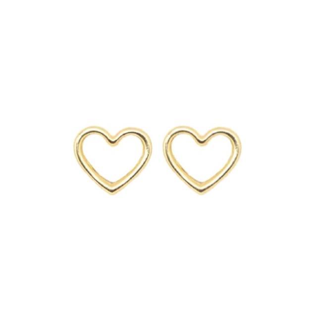 Brincos Corações Contorno Ouro 18k