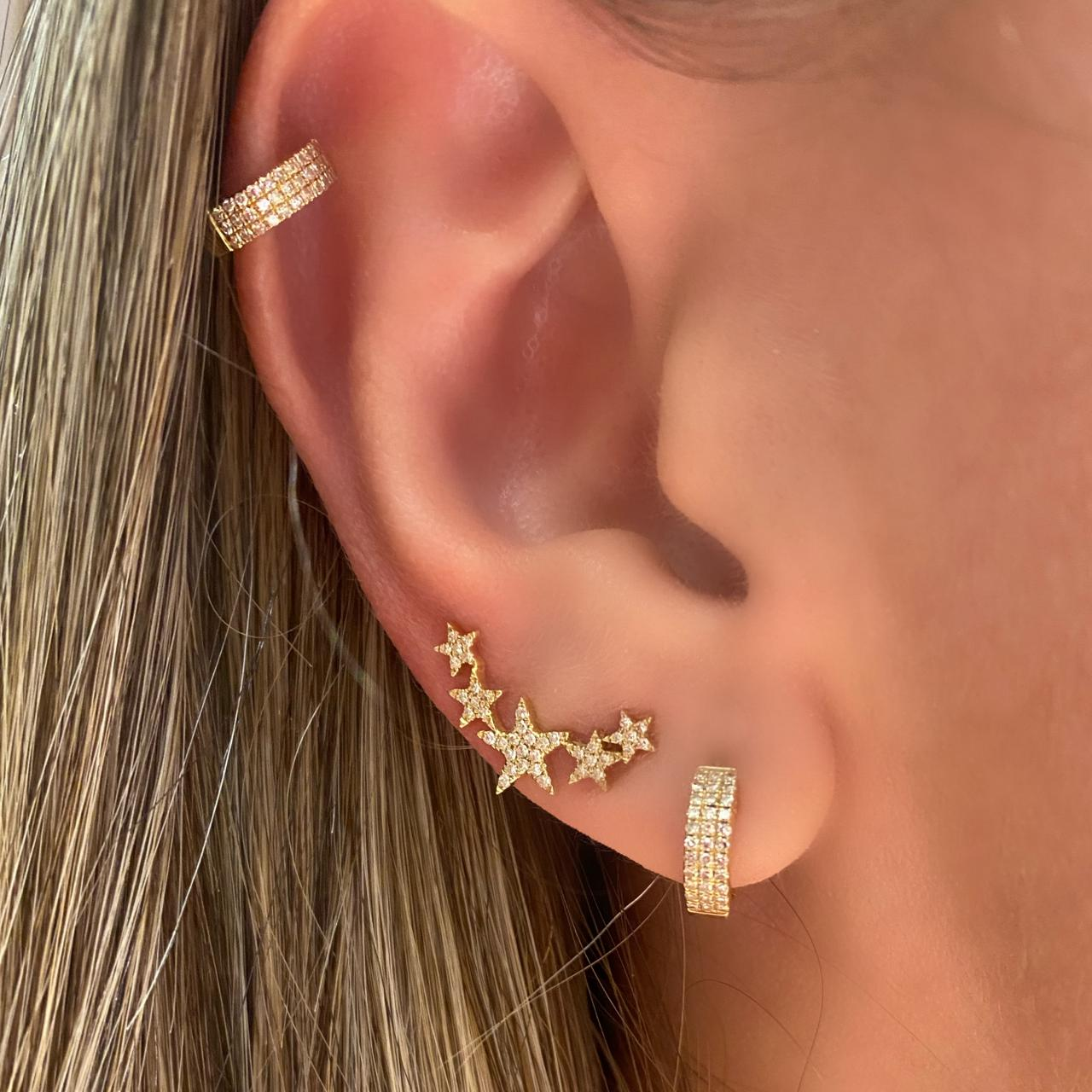 Brincos Ear Climbers Stars Ouro 18k e Diamantes