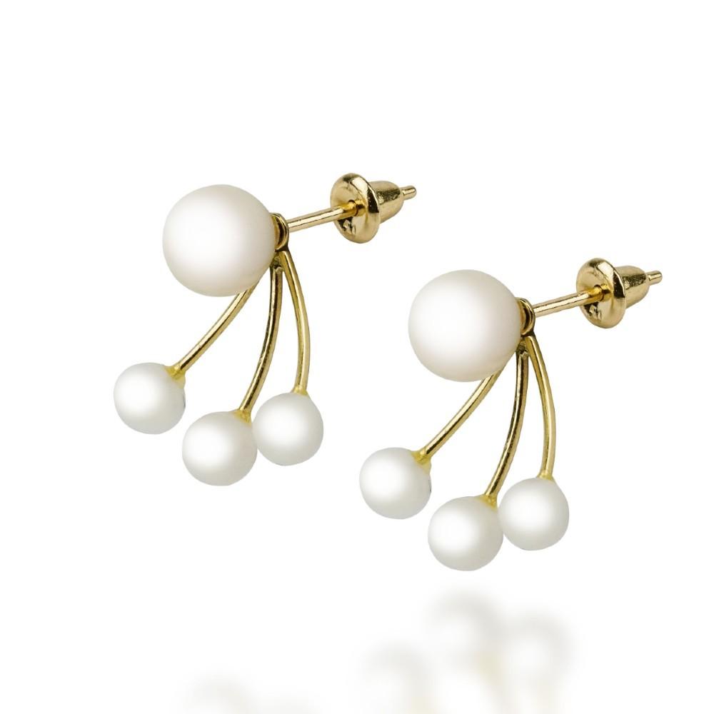 Brincos Ear Jackets em Ouro 18k com Pérolas