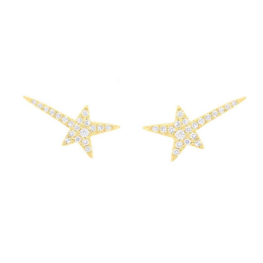 Brincos Estrela Cadente Ouro 18k com Diamantes