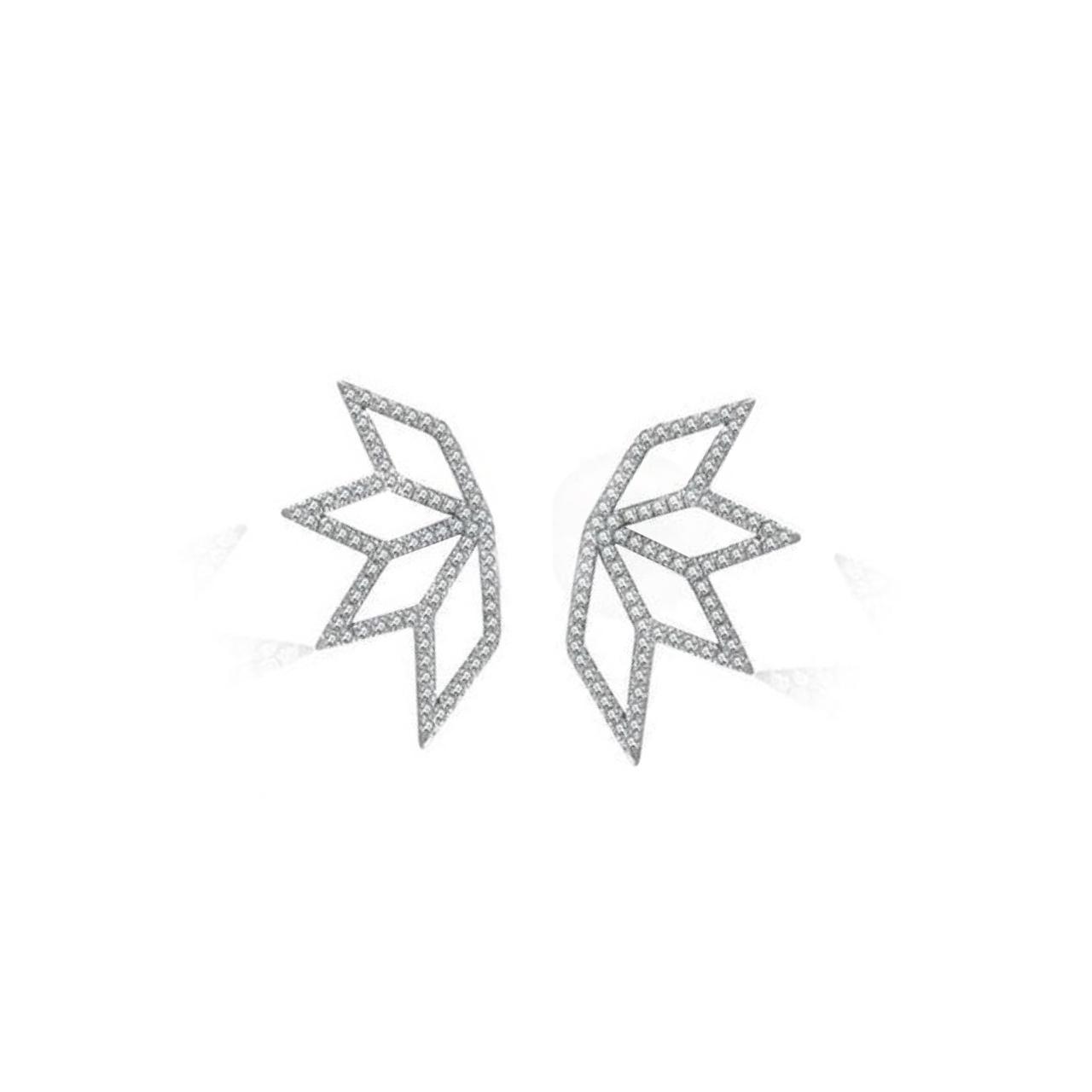 Brincos Lotus Ouro branco 18k e Diamantes
