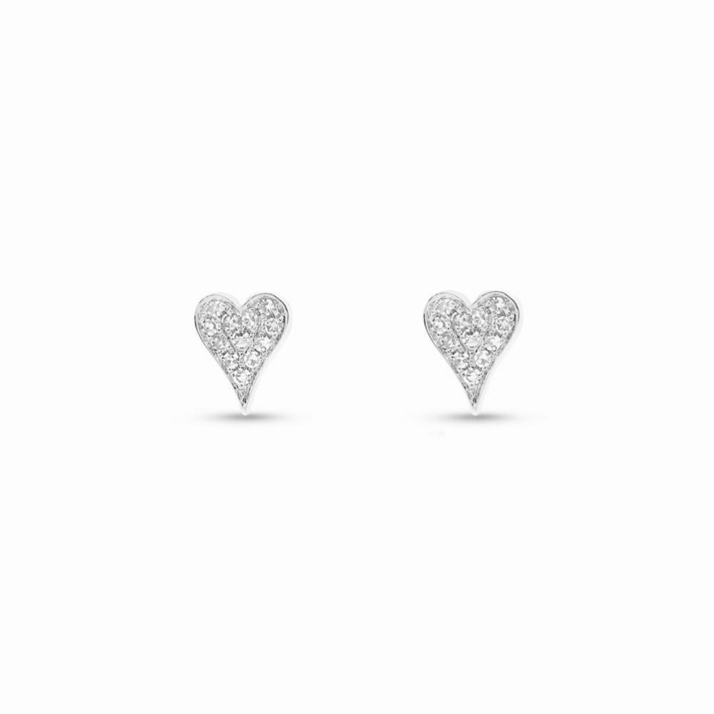 Brincos Mini Hearts Ouro branco 18k com Diamantes