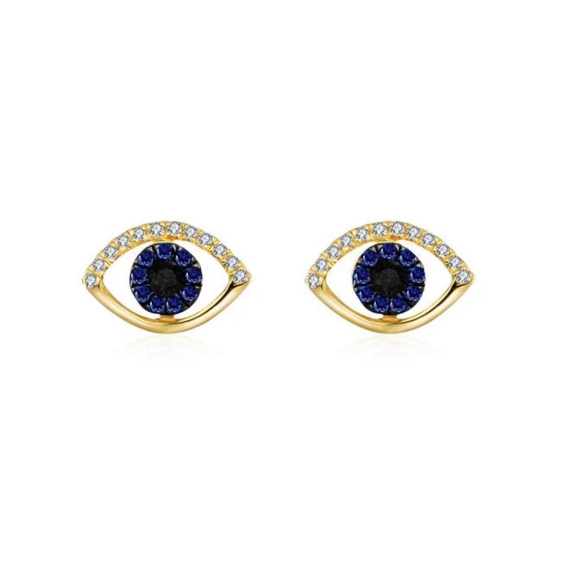Brincos Olho Grego Ouro 18k, Safiras e Diamantes