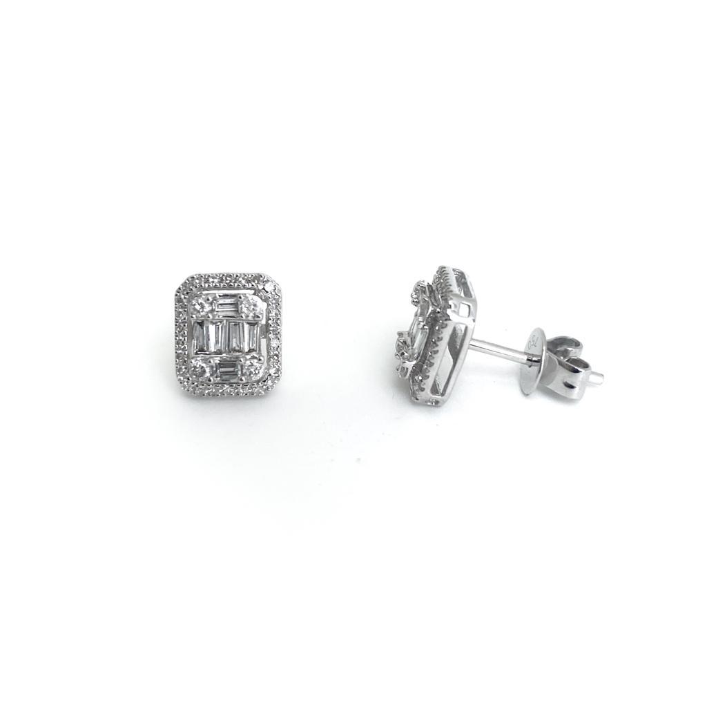 Brincos Ouro branco 18k com Diamantes