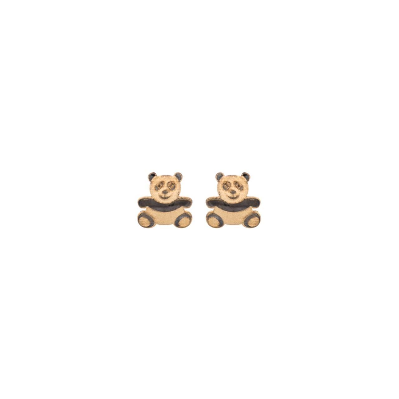 Brincos Panda em Ouro 18k