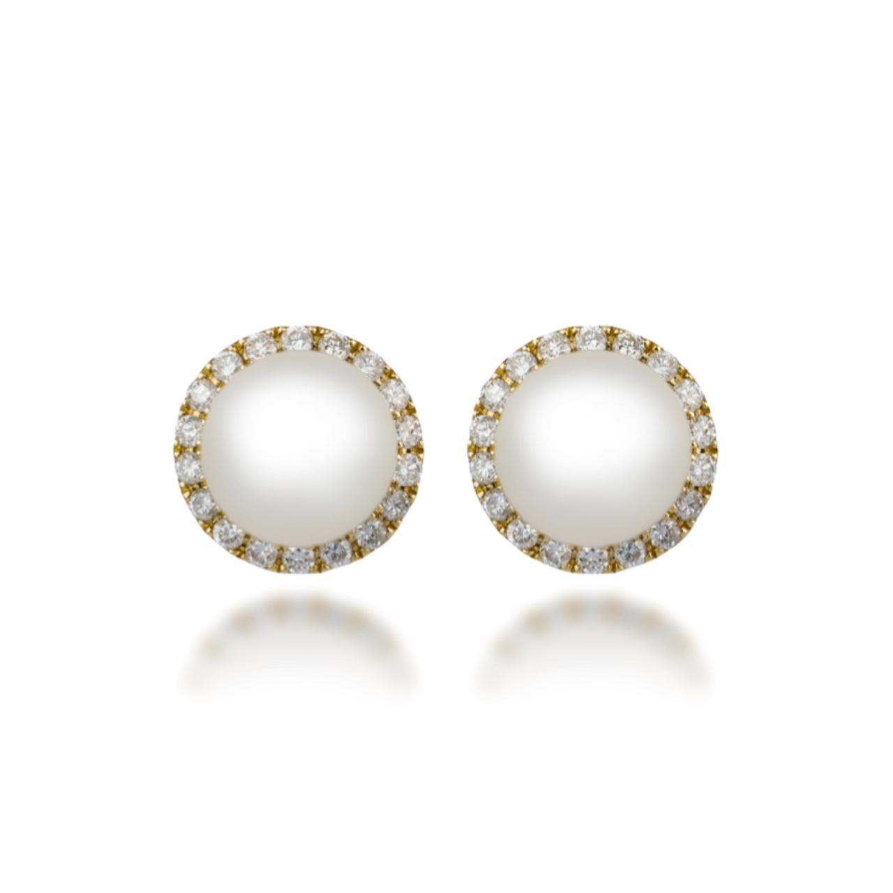 Brincos Pérolas e Diamantes em Ouro 18k