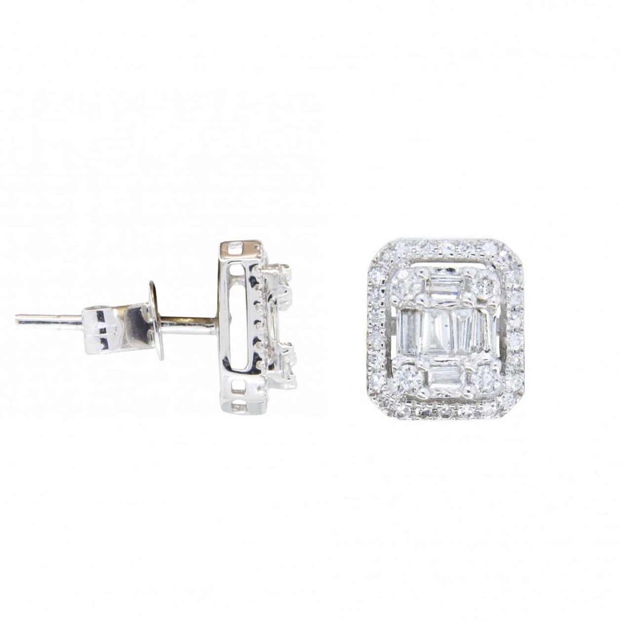 Brincos  Retângulos Ouro branco 18k Diamantes
