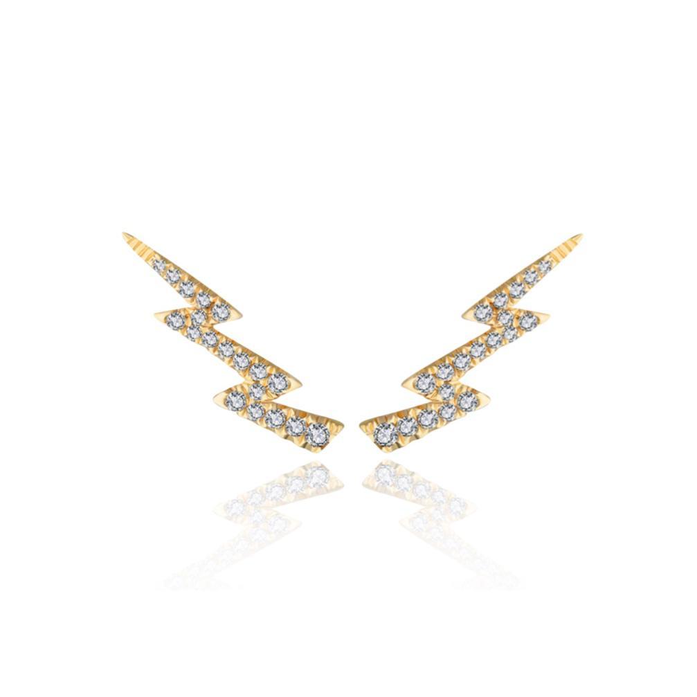 Brincos Storm Ouro 18k com Diamantes