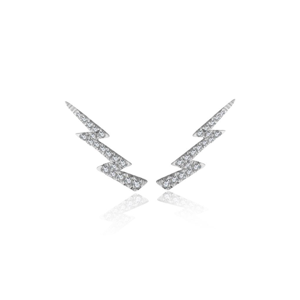 Brincos Storm Ouro branco 18k com Diamantes