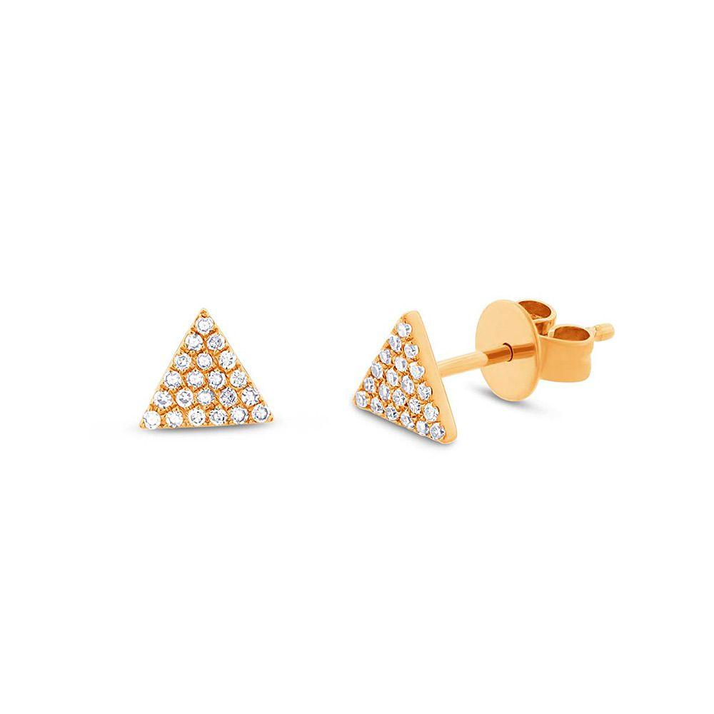Brincos Triângulos Ouro 18k com Diamantes
