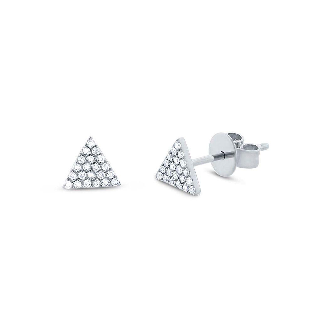 Brincos Triângulos Ouro Branco 18k com Diamantes