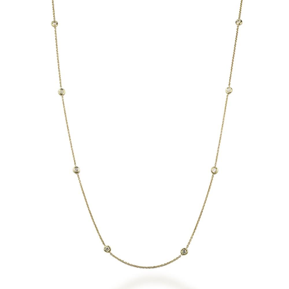Colar Pastilhas Diamantes Ouro 18k