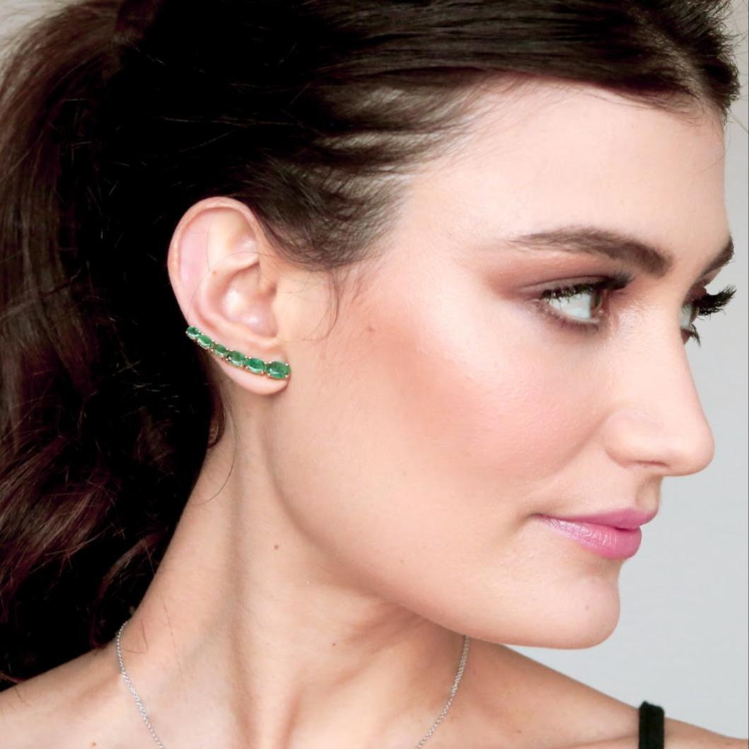 Ear Climbers Esmeraldas em Ouro 18k