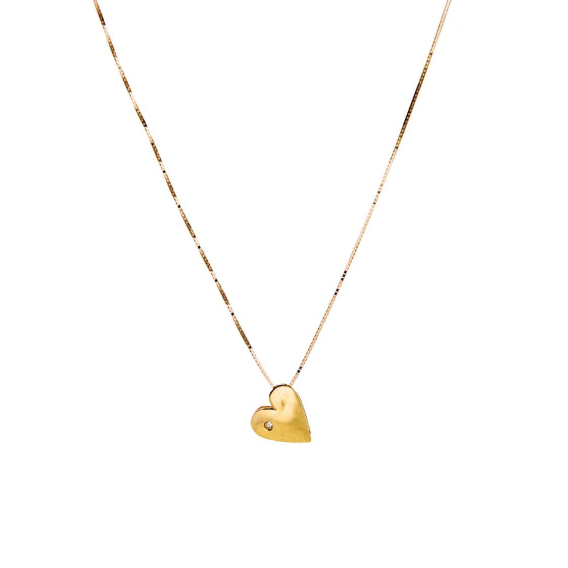Gargantilha Coração em Ouro 18k com Diamante
