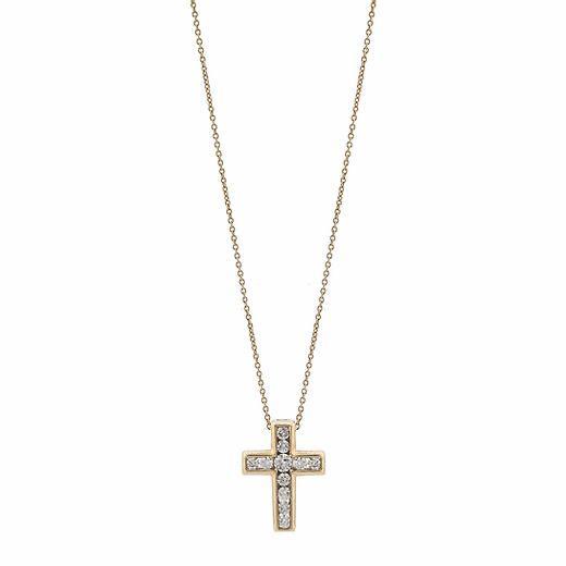 Gargantilha Crucifixo em Ouro 18k com Diamantes