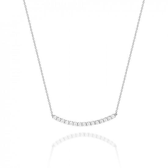 Gargantilha Curve Ouro Branco 18k e Diamantes