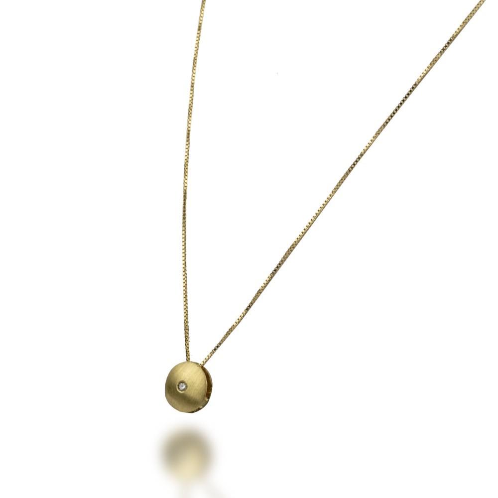 Gargantilha Disco em Ouro 18k com Diamante