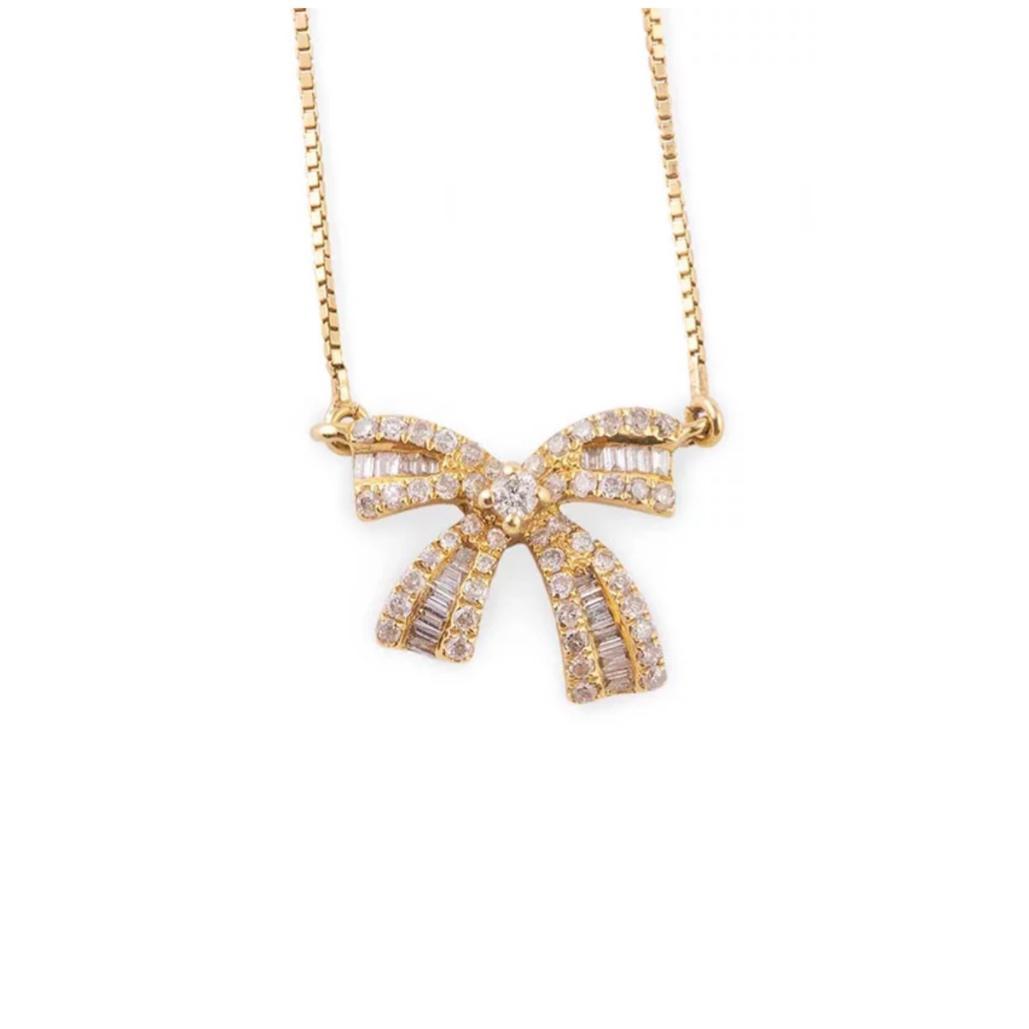 Gargantilha Laço Ouro 18k com Diamantes