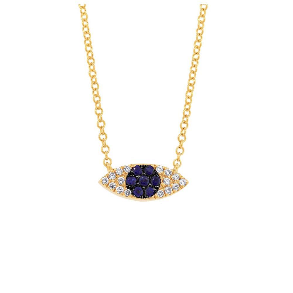 Gargantilha Olho Grego Ouro 18k Safiras e Diamantes