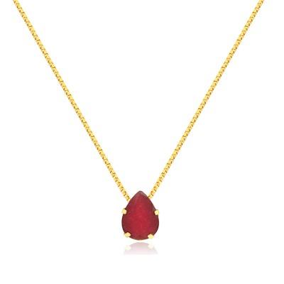 Gargantilha Ouro 18k com Jade Vermelha