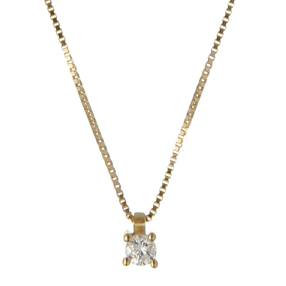 Gargantilha Ponto de Luz Ouro 18k e Diamante