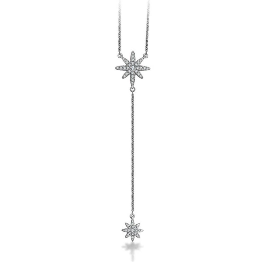 Gargantilha Shiny Star Y Ouro branco 18k e Diamantes