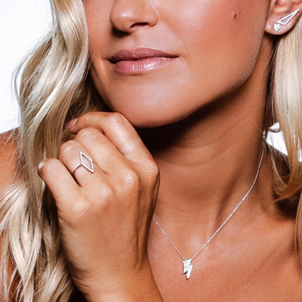 Gargantilha Storm Ouro branco 18k com Diamantes