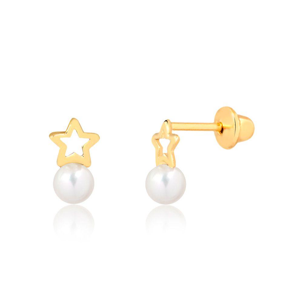 Brincos Estrelas com Pérolas em Ouro 18k