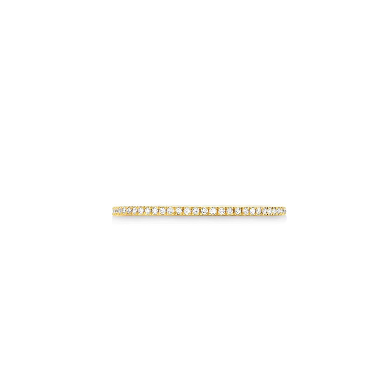Meia Aliança Minimal Ouro 18k e Diamantes