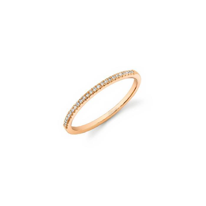 Meia Aliança Minimal Ouro Rosè 18k e Diamantes