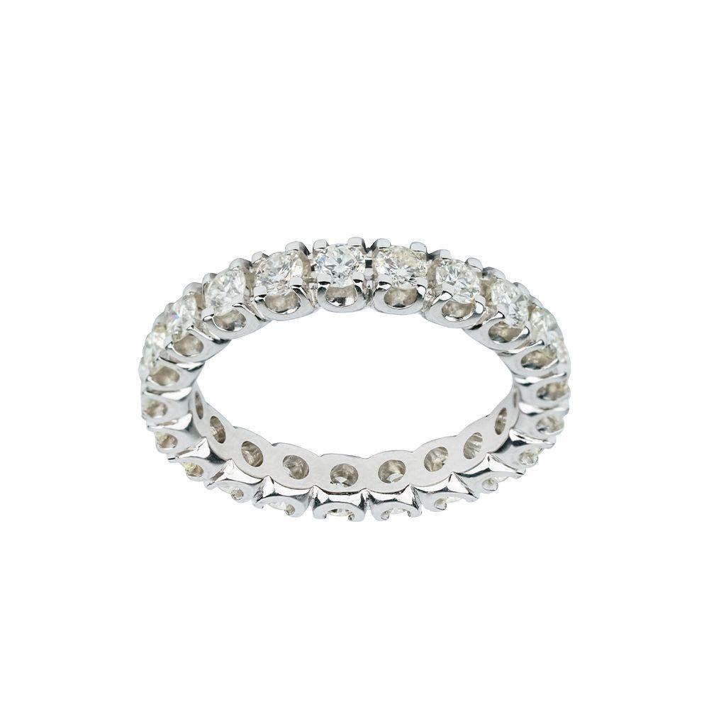 Aliança de Diamantes em Ouro branco 18k
