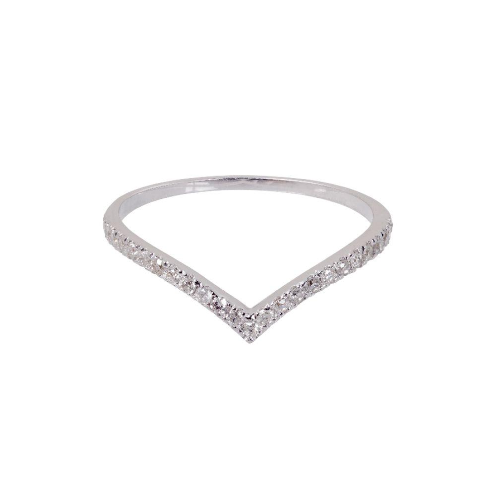 Anel Minimal Ouro Branco 18k e Diamantes