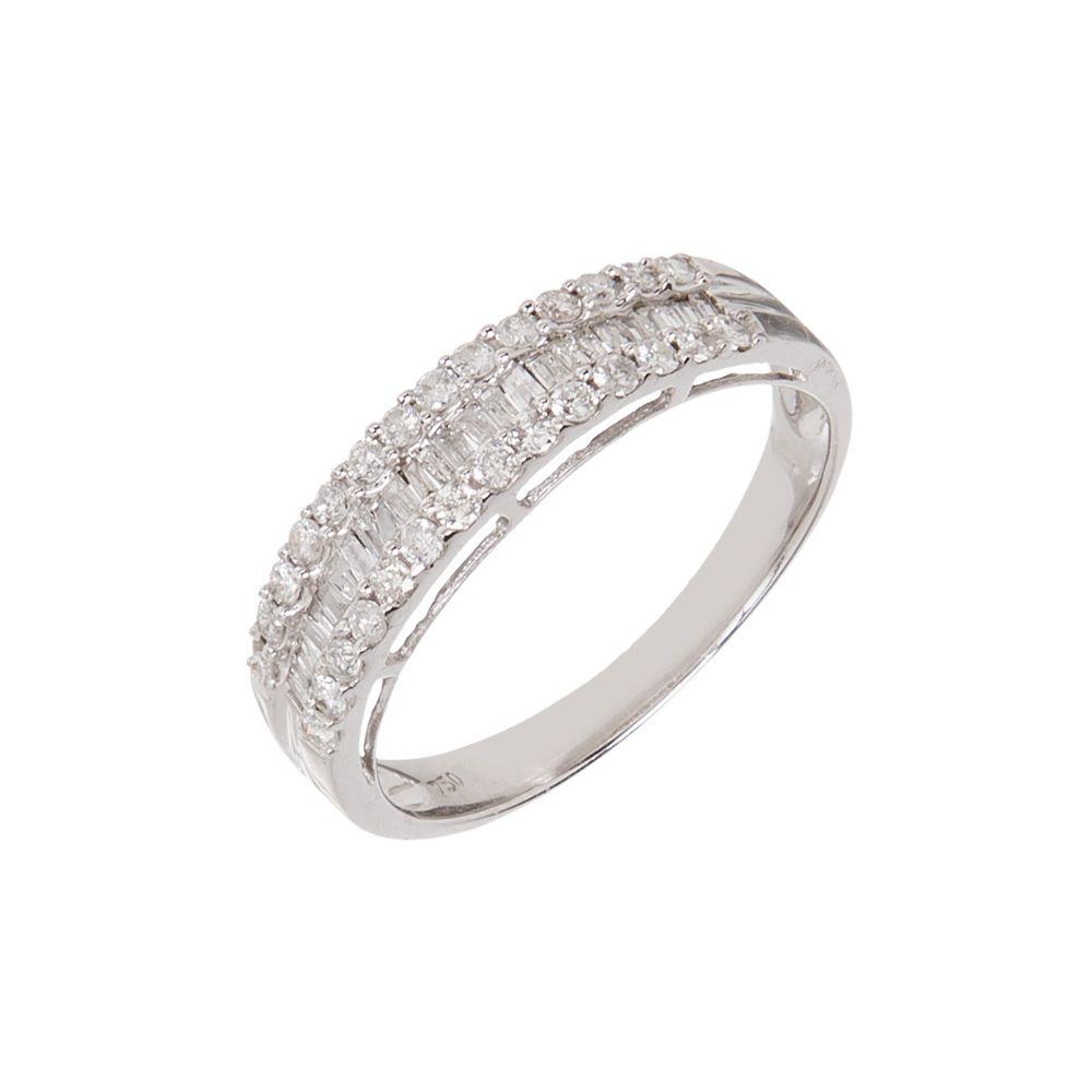 Anel estilo Meia aliança em Ouro 18k e Diamantes