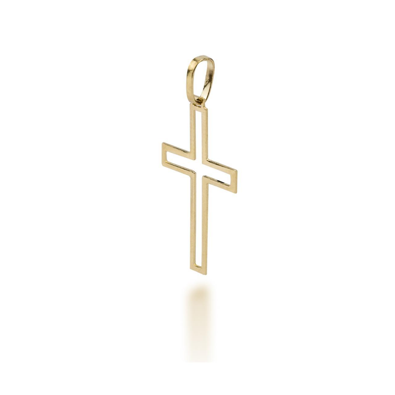 Pingente Crucifixo Vazado em Ouro 18k