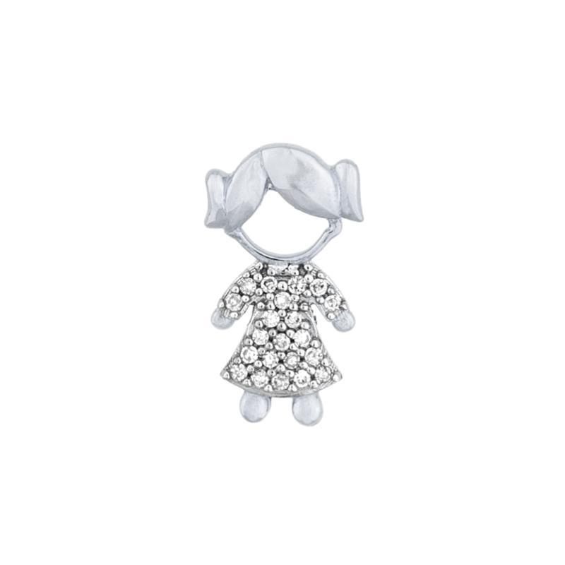 Pingente Menina com Diamantes Ouro branco 18k