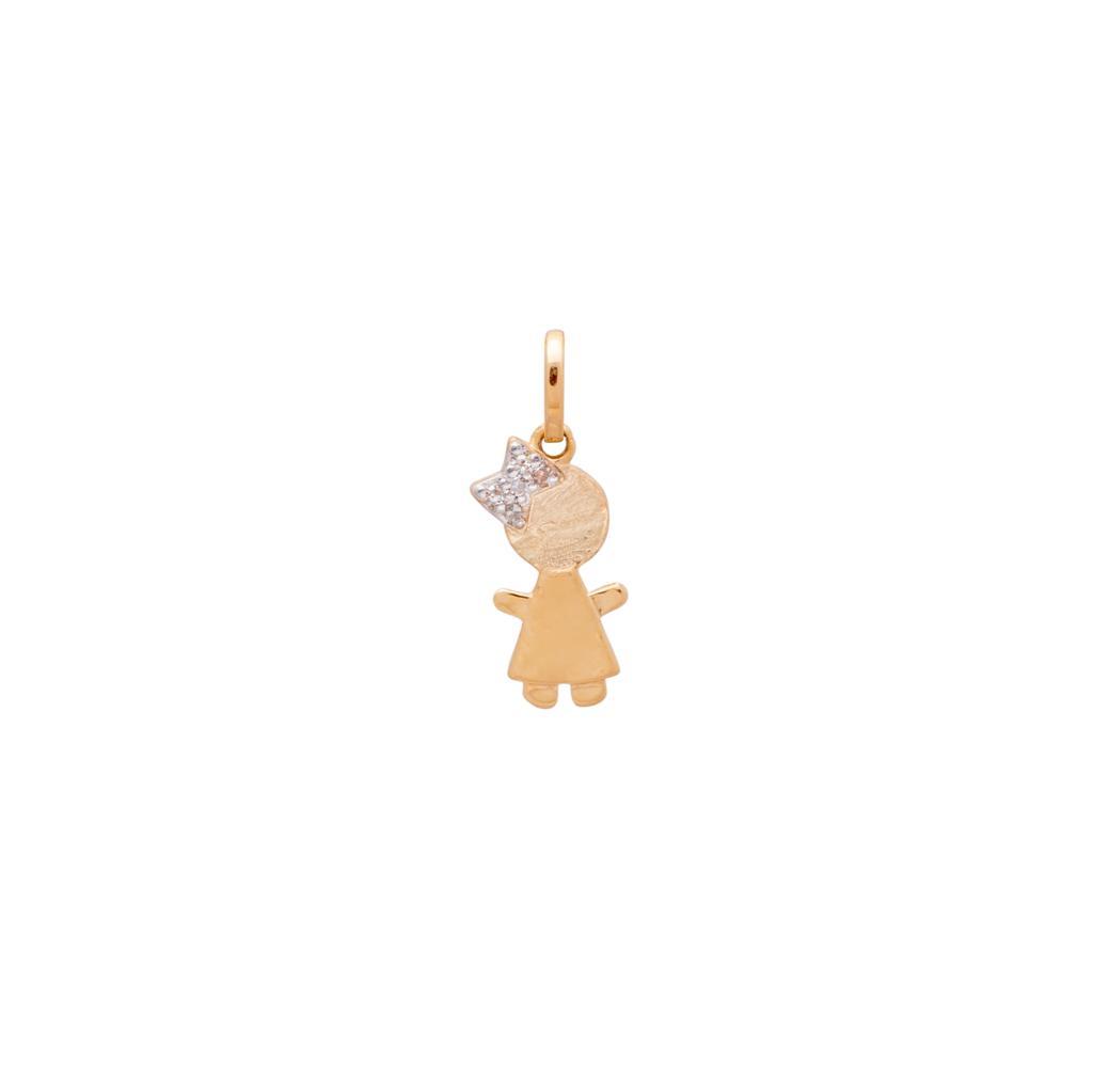 Pingente Menina Laço Diamantes Ouro 18k