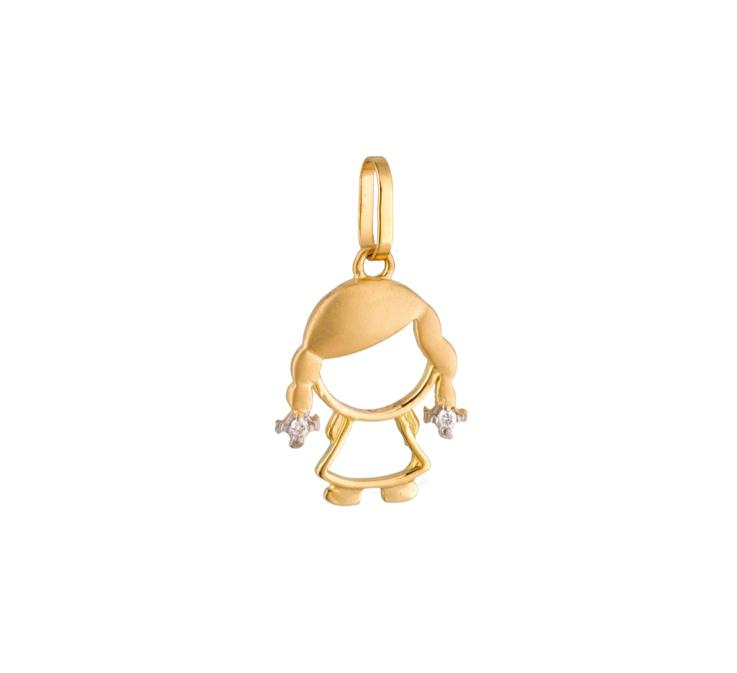 Pingente Menina Trança Diamantes Ouro 18k