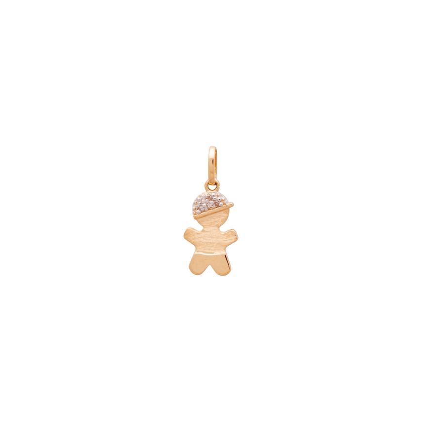 Pingente Menino Boné Diamantes Ouro 18k