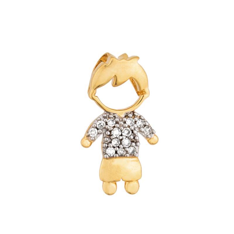 Pingente Menino com Diamantes Ouro 18k